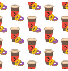 Coffee and donut seamless pattern vector