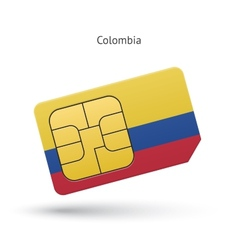 Colombia mobile phone sim card with flag vector
