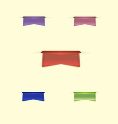 Colorful sleek web ribbons on yellow background vector image vector image