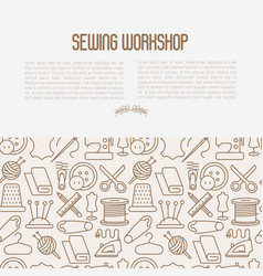 Concept for sewing workshop with thin line icons vector