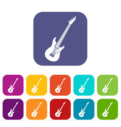 electric guitar icons set vector image vector image