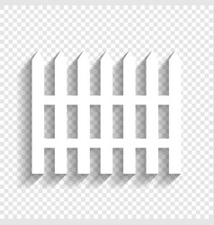 Fence simple sign white icon with soft vector