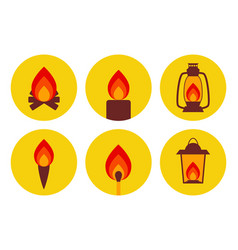 Fire illuminating devices icon set vector
