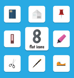 Flat icon equipment set of letter dossier marker vector