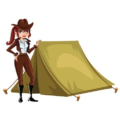 Girl-Scout-with-tent vector image vector image