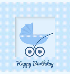 Greeting card with baby stroller vector
