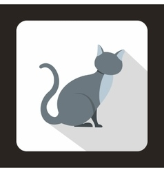 Grey cat icon flat style vector
