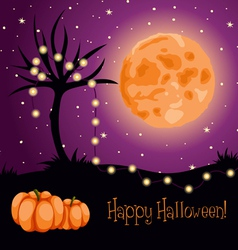 halloween moon tree lights vector image vector image
