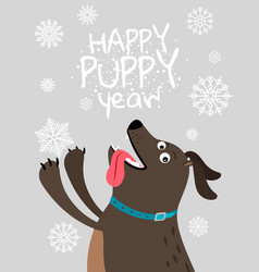 Happy dog 2018 christmas card vector