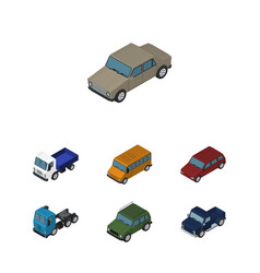 Isometric automobile set of car armored lorry vector