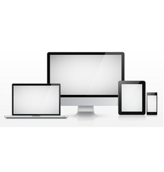 laptop monitor tablet computer and smartphone vector image