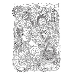 Monochrome sea ornament for adult coloring book vector