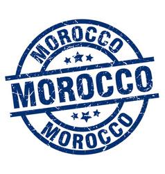 Morocco blue round grunge stamp vector