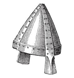 Norman helmet vintage engraving vector image vector image