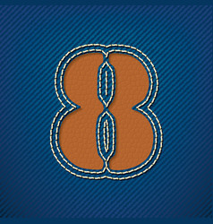 Number 8 made from leather on jeans background vector