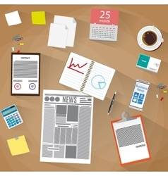 Office workspace Flat design style vector image vector image