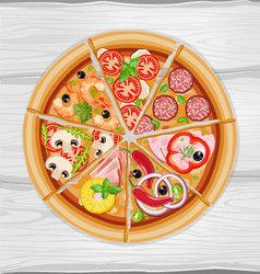 Pizza slice assorted vector