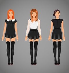 pretty females in different black and white collar vector image vector image