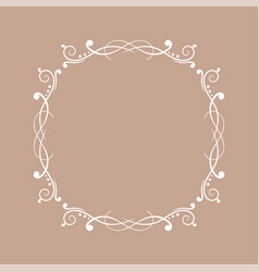 Round white floral ornament on beige background vector