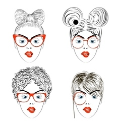 Set of drawing women faces with haircuts vector image