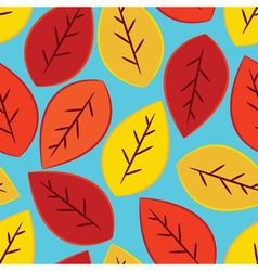 Single yellow orange and red fall leaves seamles vector