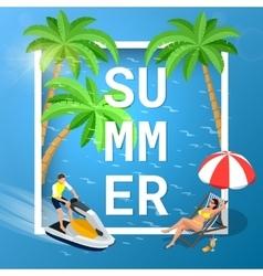 Summer concept of sandy beach Idyllic travel vector image