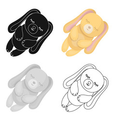 Toy rabbit icon in cartoon style isolated on white vector