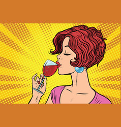 woman drinking red wine vector image vector image
