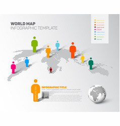 world map infographic template with figures vector image vector image