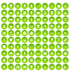 100 hobby icons set green vector