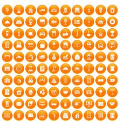 100 hotel icons set orange vector