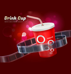 Drink cup movie cinema object vector