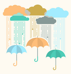 Rain image with stylish flat clouds and umbrella vector