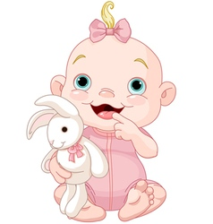 Cute baby girl vector