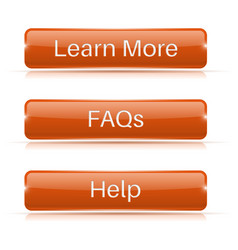 Faqs learn more help buttons orange 3d icons vector