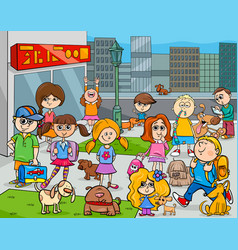 Cartoon kids with dogs in the city vector
