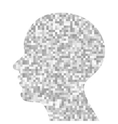 Gray pixeated profile vector