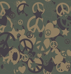 Military camouflage love and peace sign vector