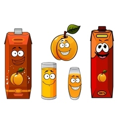 Apricot juice containers and fruit characters vector