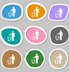 Throw away the trash icon symbols multicolored vector