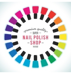 Nail polish women accessories set in a palette vector