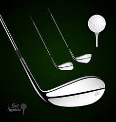 Golf ball and golf stick on the dark background vector