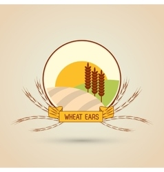 Wheat icon landscape design agriculture concept vector