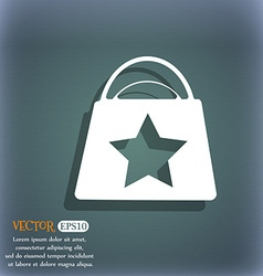 Shopping bag icon on the blue-green abstract vector