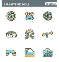 Icons line set premium quality of car parts tools vector