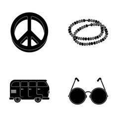 A hippie sign beads a bus round glasseshippy vector
