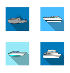 A military submarine a speedboat a pleasure boat vector