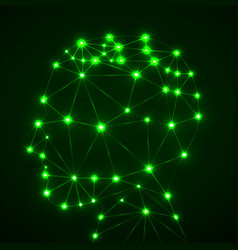 Abstract polygonal head with glowing dots and vector