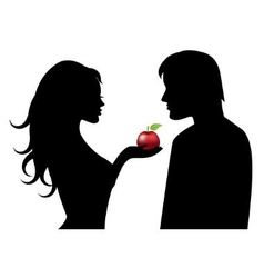 Adam and eve and the forbidden fruit vector
