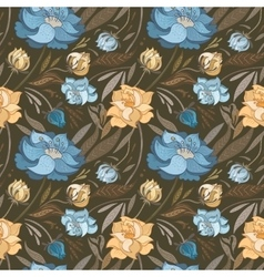 Autumn Brown Floral Pattern vector image vector image